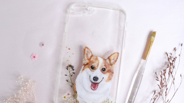 Hand Drawn Pet Painting Pressed Flower Phone Case